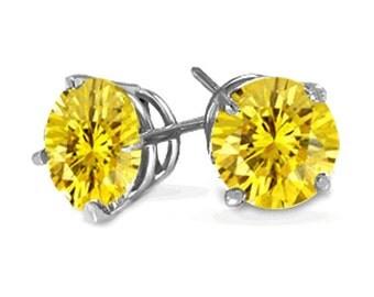 sterling silver yellow diamond stud earrings