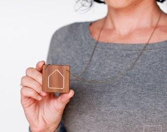 Natural wood necklace,simple wooden necklace,minimal jewelry.Pendant of square wooden with embroidered house silhouette  · white color ·