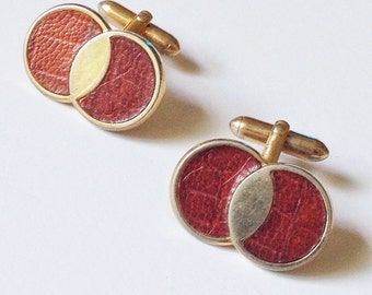 signed Swank cuff links / leather cuff links / wedding groom / guy gift / vintage mens