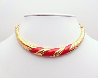 Vintage Red and Gold Monet Necklace 1970s