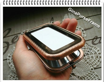 Square patchwork mirror-base metal frame (3color) Slap-up / purse bag pouch making supplies -1piece