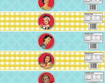 Printable DIY 1950's Retro Housewife Bridal Shower Water Bottle Labels