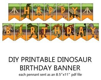 Printable DIY Dinosaur Theme Birthday Banner - alternate color scheme