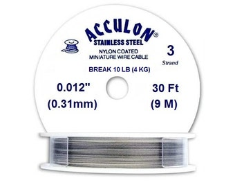 Acculon Nylon Coated Beading Wire Silver 3 Strand 0.31mm 9 meters Spool