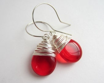 Red Earrings Wire Wrapped Earrings Ruby Earrings July Birthstone Jewelry Drop Earrings Red Jewelry Wire Wrapped Jewelry Handmade
