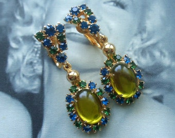 Unsigned Beauties.  Chartreuse Glass Cabochon Dangle Earrings