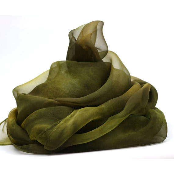 Hand Dyed Silk Scarf  - Yellow Green, Olive, Brown, Khaki