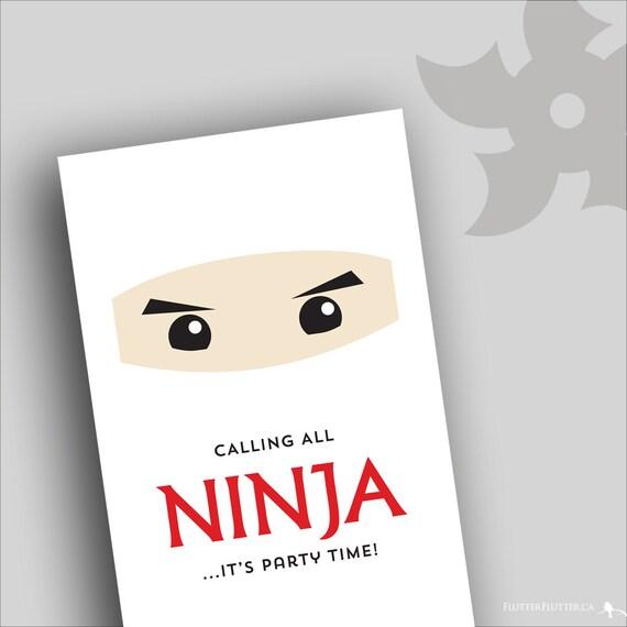 Printable Ninja Party Birthday Invitations by ...
