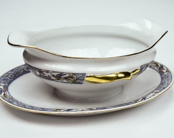 China Gravy Sauce Boat with Attached Underplate Matches Haviland Rajah