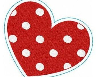 Valentine dotted heart machine embroidery design