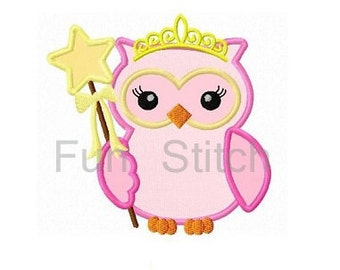 Owl princess applique machine embroidery design instant download