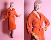 EYE CATCHING 1940's Pumpkin Orange Rayon Crepe Hourglass Cocktail Dress w Eyelet Cut-Outs, Billowy Sleeves & Tie Belt - Peasant - M to L