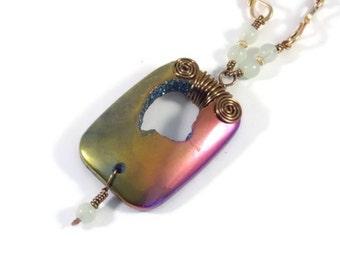 Stone Necklace Art Jewelry Titanium Druzy with Chalcedony Handmade Necklace