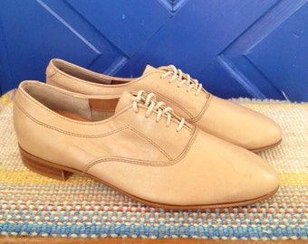 1980 Jazzy, tan, leather, lace up, Dexter oxford Mens 8 1/2,  womens 10 1/2