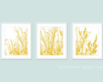 Modern Autumn Branches Set - Autumn Tree Wall Art - Mustard Yellow - Woodland Branches Art - Home Decor - Aldari Art
