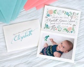 Girl birth announcement baby digital file watercolor girl flowers coral pink aqua blue calligraphy paint