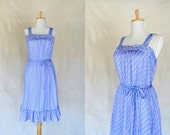 80s striped sundress / pink and blue dress / ruffled hem / Tabby of California / small - medium
