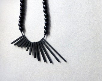 black geometric necklace , minimalist tribal contemporary jewelry