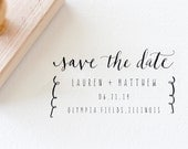 Custom Calligraphy Save the Date Stamp 2.5 x 4 for Wedding Save the Date Customized Wood Handle Rubber Stamp Hand Written Calligraphy