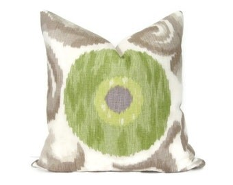 Pillow Cover Linen Ikat Green & Purple Dot on Vanilla w/ Mocha Swirls Both Sides