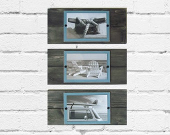 Set of 3 Plank Frames Driftwood Finish and Turquoise