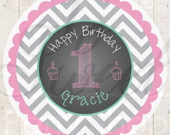 1st Birthday Favor Stickers - Girls 1st Birthday Decorations - Chalkboard with Gray Chevron - Pink & Mint Green - Set of 24