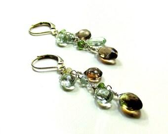 Light and Dark Earrings - Artisan Handmade, Smoky Topaz, Grossular Garnets, Green Amethyst with Sterling Silver