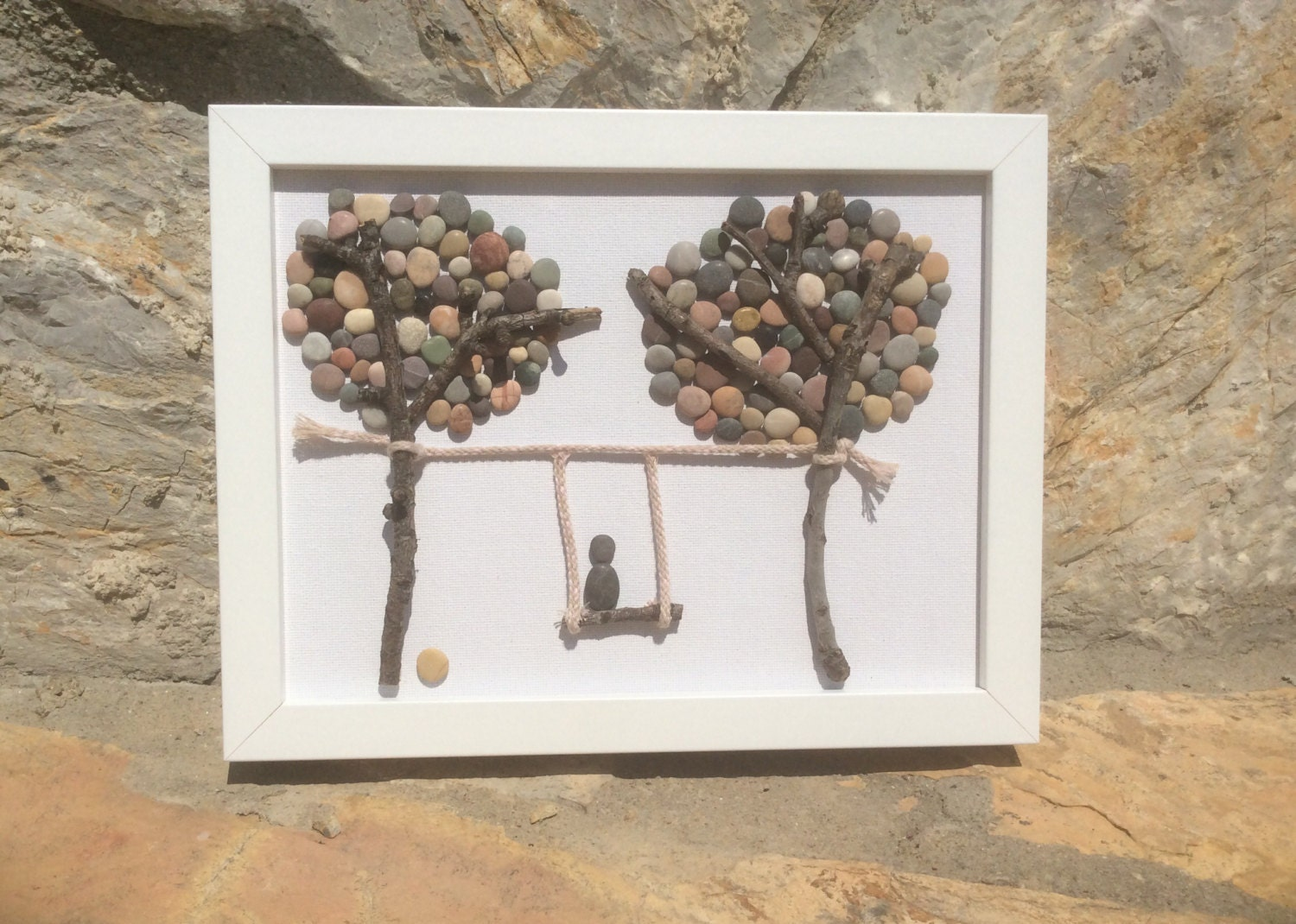 pebble art two trees and swing beach pebble picture in white. Black Bedroom Furniture Sets. Home Design Ideas