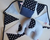 "Welcome Baby Set  ""Little Boy Blue"" soft elephant, toy cube, bunting, blank card"