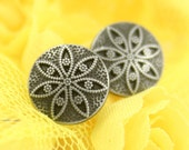 Metal Buttons - Star Anise Metal Buttons , Nickel Silver Color , Shank , 0.43 inch , 10 pcs