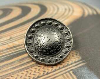 Metal Buttons - Beads Domed Metal Buttons , Nickel Silver Color , Shank , 0.91 inch , 10 pcs