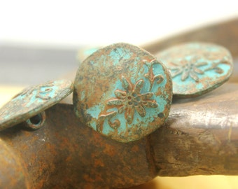 Patina Metal Buttons - Flower and Vine Metal Buttons , Green Patina Color , Hexagon , Shank , 0.79 inch , 6 pcs