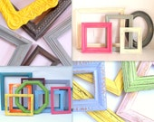 Custom Color Frames - you pick colors - 5 wooden frames painted in your choice of colors - upcycled shabby cottage chic - vintage
