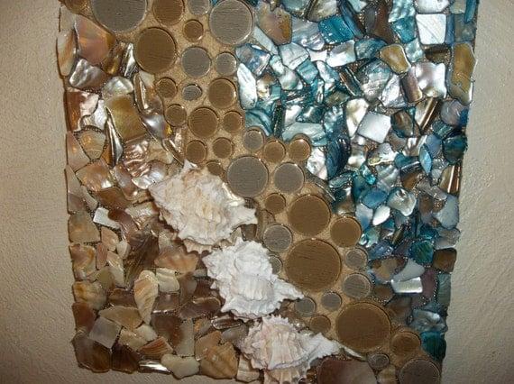 mosaic seashell wall art beach scene wall hanging wall. Black Bedroom Furniture Sets. Home Design Ideas