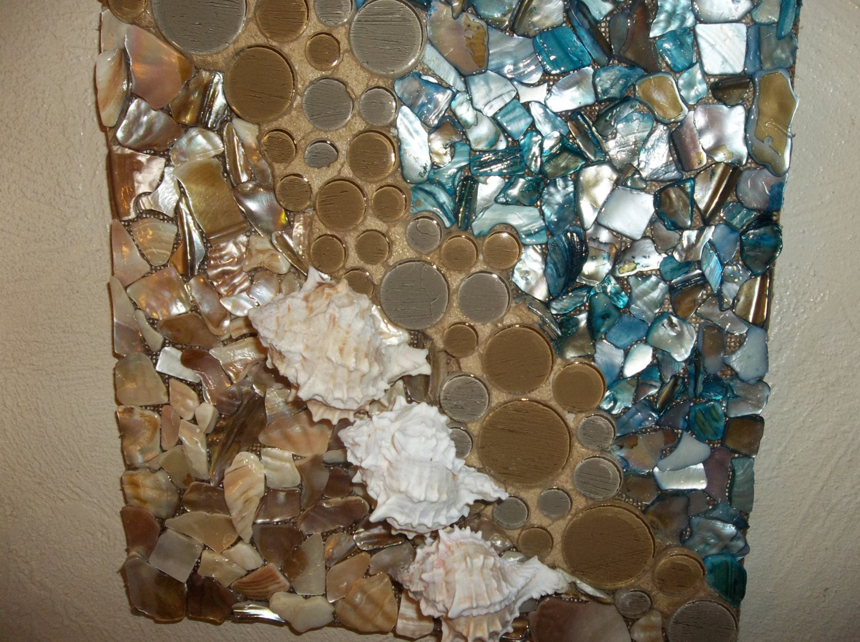 Mosaic seashell wall art beach scene wall hanging wall for Seashell mosaic art