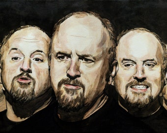 The Faces of Louis CK, Print from Original Painting