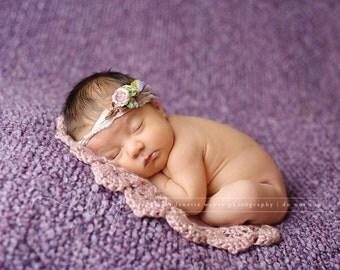 Newborn Photo Prop, Picture Prop, Pink Layering Blanket, Basket Stuffer, Photography Prop, Basket Filler, Doily Blanket, Blanket Prop