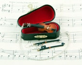 Violin Necklace and Bow Earrings Gift Set in Case, Violin Gifts