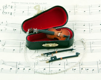 Violin Necklace and Bow Earrings Gift Set in Case - Violin Gifts