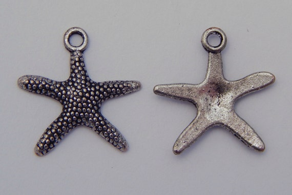 Jewelry Charms - 19mm Starfish Design Antique Silver Color Metal, Pendants, Animal, 10 Pieces