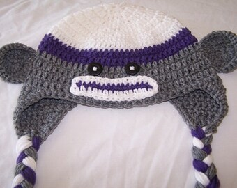 Sock Monkey Beanie ( Earflaps and Braids ) ( Custom Colors Available ) ( Four Sizes Available )