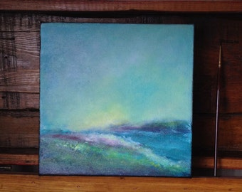"""Abstract Textured Original  Landscape Painting, """"Blue Series, 4"""""""