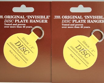 "Plate Hangers Set of Two (2) Small - Invisible Disc Plate Walls Hanger - 2"" For Plates Up To 6"""