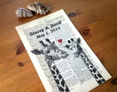 Giraffes Sweet Love Wedding Engagement Valentine Anniversary Gift Personalized Art Print on Antique 1896 Dictionary Book Page