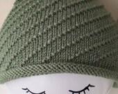 Women's Hand Knitted Hat in Sage-Coloured Merino Silk Wool
