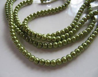 4mm Glass PEARL Beads in Pea Pod Green, 100 Pieces, Round