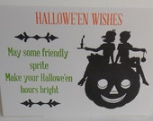 SALE Set of Halloween Cards, Halloween Pumpkin, Letterpress Card, Printed Card, Halloween Letterpress, Greeting Card, Clearance, Stationary