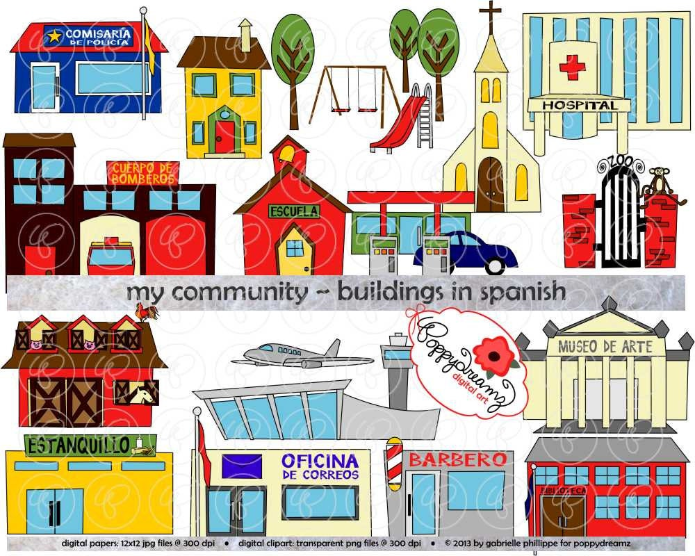 My Community Buildings in SPANISH Clipart: 300 dpi