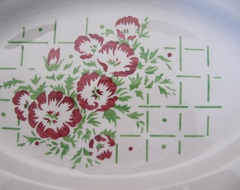 41 pc Set!  Vintage French Country Farmhouse Cottage Dinnerware Plates Dishes Red Floral Flowers Luneville K&G France
