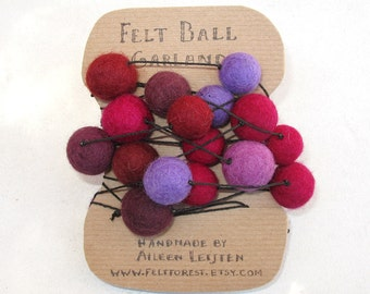 Purple-Wine-Red Felt Ball Garland